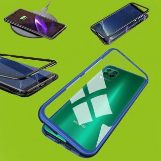 Für Huawei P40 Lite Magnet Metall Glas Blau Handy Tasche Hülle Case Cover Schutz