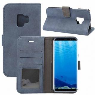 Deluxe Retro Tasche Wallet Blau für Samsung Galaxy S9 G960F Hülle Case Cover Neu
