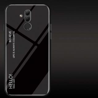 Für Huawei Mate 20 Lite Color Rainbow Effekt Glas Cover Schwarz Tasche Hülle Neu