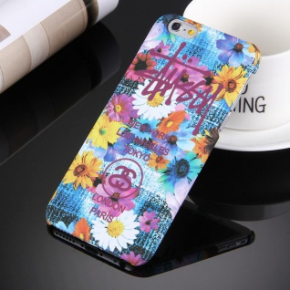 Day Night Schutzhülle Cover für Apple iPhone 6S 6 Style Hardcase Blume Bunt