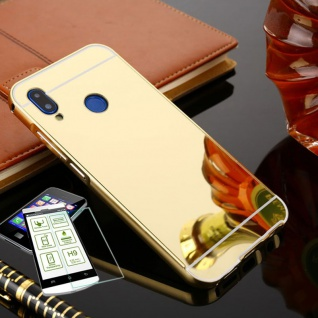 Alu Bumper 2 teilig Gold + 0, 3 H9 Glas für Huawei P20 Tasche Hülle Case Cover