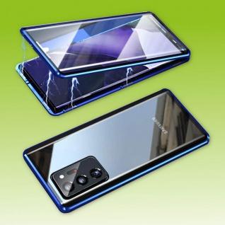 Beidseitige Magnet Glas Bumper Handy Tasche Blau für Samsung Galaxy S21 Plus Neu