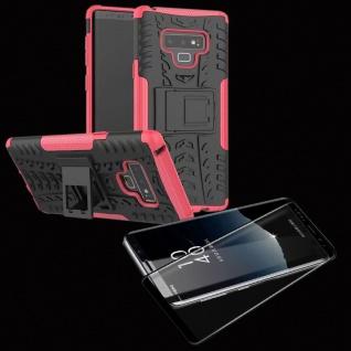 Hybrid Case Tasche 2teilig Pink für Samsung Galaxy Note 9 N960 + 4D Glas Schwarz
