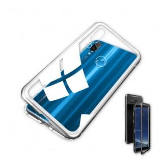 Für Huawei P Smart Plus Magnet / Metall Glas Silber / Transparent Tasche Hülle - Vorschau 2