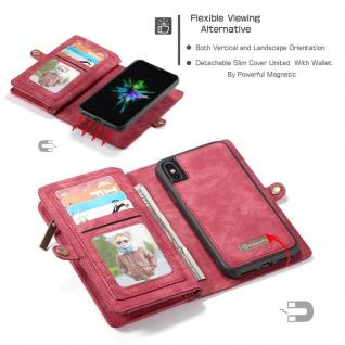 Schutzhülle Handy Tasche f. Apple iPhone X / XS Geldbeutel Schutz Hülle Etui Rot - Vorschau 4