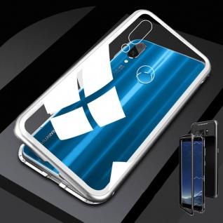 Für Huawei P20 Lite Magnet / Metall / Glas Silber / Transparent Tasche Hülle Neu