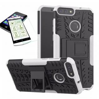Für Huawei P Smart Hybrid Tasche Case Outdoor 2teilig Weiß Hülle + H9 Glas Hülle