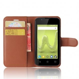 Tasche Wallet Premium Braun für Wiko Sunny 2 Hülle Case Cover Etui Schutz Neu - Vorschau 4