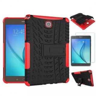 Hybrid Outdoor Tasche Rot für Samsung Galaxy Tab A 9.7 T550 + 0.4 H9 Hartglas