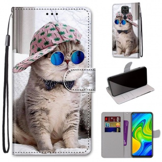 Für Xiaomi Redmi Note 9 Kunst-Leder Handy Tasche Motiv 5 Hülle Etuis Cover Neu