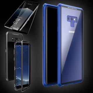 Für Samsung Galaxy Note 9 Magnet Tasche Blau / Transparent + 0, 3 4D H9 Glas Neu
