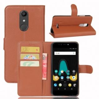 Tasche Wallet Premium Braun für Wiko Upulse Hülle Case Cover Etui Schutz Zubehör