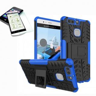 Hybrid Case Tasche Outdoor 2teilig Blau für Huawei P9 + H9 Hartglas Cover Etui
