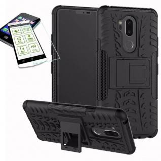 Für LG G7 Hybrid Tasche Outdoor 2teilig Schwarz Hülle + H9 Glas Hülle Case Cover