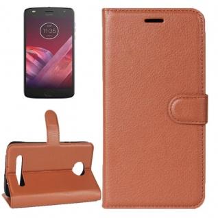 Tasche Wallet Premium Braun für Motorola Moto Z2 Play Hülle Case Cover Etui Neu