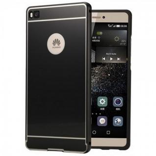 Alu Bumper 2 teilig mit Abdeckung Schwarz für Huawei Ascend P8 Tasche Hülle Neu