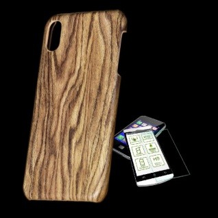 Für Apple iPhone XS MAX Tasche Holz Muster 2 Hart Cover + H9 Glas Case Schutz