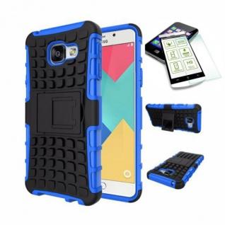 Hybrid Case Tasche 2teilig Blau für Samsung Galaxy A5 2016 A510F + H9 Hartglas