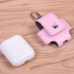 Kunstleder Tasche für Apple AirPods Rosa Schutz Etui Tasche Halterung Zubehör