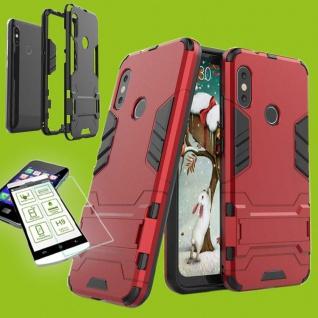 Für Samsung Galaxy A7 A750F Tasche Metal Style Hybrid Hülle Rot + 0, 26 H9 Glas