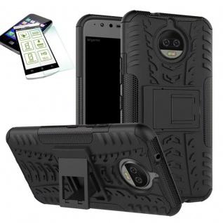Hybrid Case Tasche Outdoor 2teilig Schwarz für Motorola Moto G5S Plus Hülle Glas