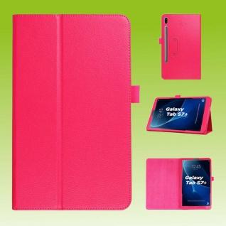 Für Samsung Galaxy Tab S7 Plus / S7 FE Pink Kunst Leder Hülle Tablet Tasche Etuis Cover