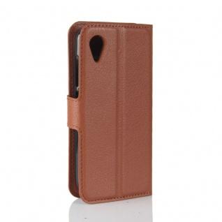 Tasche Wallet Premium Braun für Wiko Sunny 2 Hülle Case Cover Etui Schutz Neu - Vorschau 3