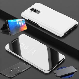 Für Huawei P30 Lite Clear View Smart Cover Silber Etuis Tasche Hülle Wake UP Neu