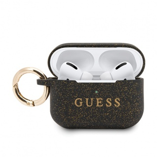 Guess Apple Airpods Pro Silicon Cover Ring Schwarz Cover Tasche Case Etui Halter