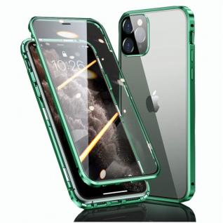 Beidseitiger Magnet Glas Handy Tasche Grün für Apple iPhone 12 Mini Etuis Cover