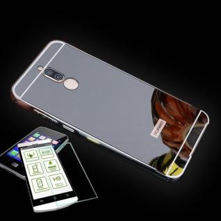 Alu Bumper 2 teilig Schwarz + 0, 3 H9 Panzerglas für Huawei Mate 10 Lite Tasche