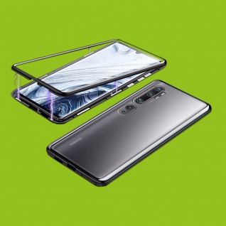 Beidseitiger Magnet Glas Bumper Tasche Schwarz für Xiaomi Mi Note 10 / 10 Pro