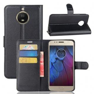 Tasche Wallet Premium Schwarz für Motorola Moto G5S Plus Hülle Case Cover Etui