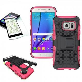 Hybrid Case Tasche 2teilig Pink für Samsung Galaxy S7 G930 G930F + H9 Hartglas