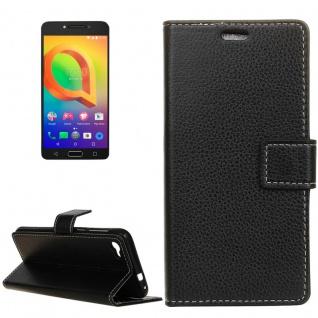 Tasche Wallet Premium Schwarz für Alcatel A5 LED 5085D Hülle Case Cover Etui Neu