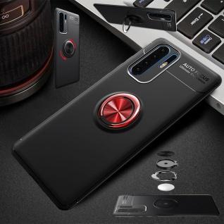 Für Huawei P30 Pro Magnet Metall Ring ultra dünn Schwarz Rot Tasche Etuis Hülle