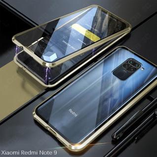 Beidseitige Magnet Glas Bumper Handy Tasche Gold für Xiaomi Redmi Note 9 Hülle
