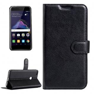Tasche Wallet Premium Schwarz für Huawei New P8 Lite 2017 Schutz Hülle Case Neu