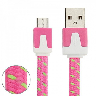2m USB Daten und Ladekabel Pink für alle Smartphone und Tablet Micro USB Zubehör