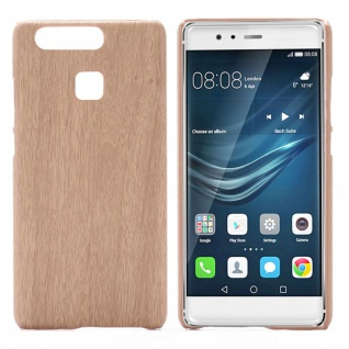 Hardcase Holz-Optik Hell Hülle für Huawei P9 Case Cover Tasche Neu Schutz Etui
