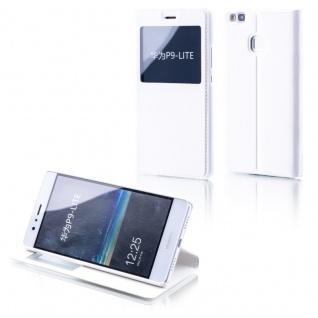 Booktasche Flip Window Weiß für Huawei P9 Lite Tasche Smart Cover Hülle Neu Etui