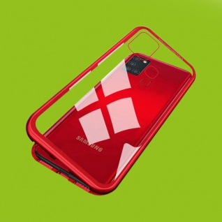 Für Samsung Galaxy A21s A217F Magnet Metall Glas Rot Handy Tasche Hülle Case Neu