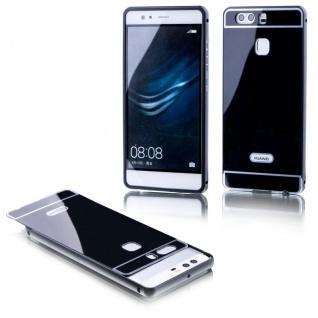 Alu Bumper 2 teilig mit Abdeckung Schwarz für Huawei P9 Tasche Hülle Case Etui