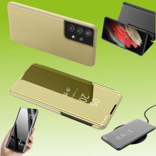 Für Samsung Galaxy A32 5G View Smart Cover Hülle Gold Handy Tasche Etuis Case