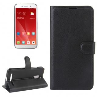 Tasche Wallet Premium Schwarz für ZTE Blade A602 Hülle Case Cover Etui Schutz
