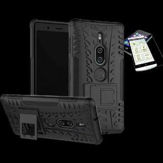 Für Sony Xperia XZ2 Premium Hybrid Case 2 teilig Schwarz Hülle + H9 Glas Tasche