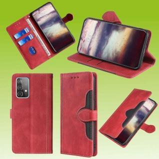 Für Samsung Galaxy A52 5G A525 Design Handy Tasche Rot Etuis Kunst-Leder Hülle
