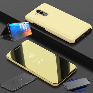Für Huawei P30 Lite Clear View Smart Cover Gold Etuis Tasche Hülle Wake UP Case
