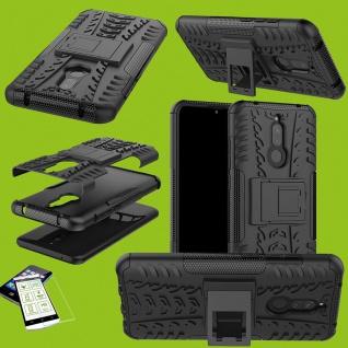 Für Xiaomi Redmi 8 / 8A Handy Tasche Hülle Etuis Cover Outdoor Schwarz + H9 Glas