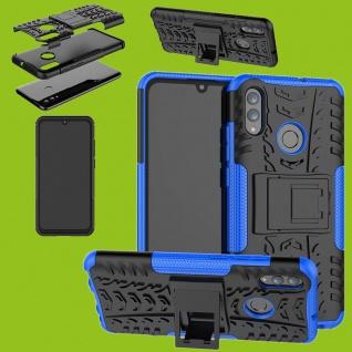 Für Huawei P Smart / Plus 2019 Hybrid 2teilig Outdoor Blau Tasche Hülle Etuis